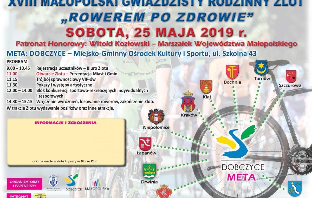 """XVIII Małopolskiego Rodzinnego Gwiaździstego Zlotu """"Rowerem po zdrowie"""""""